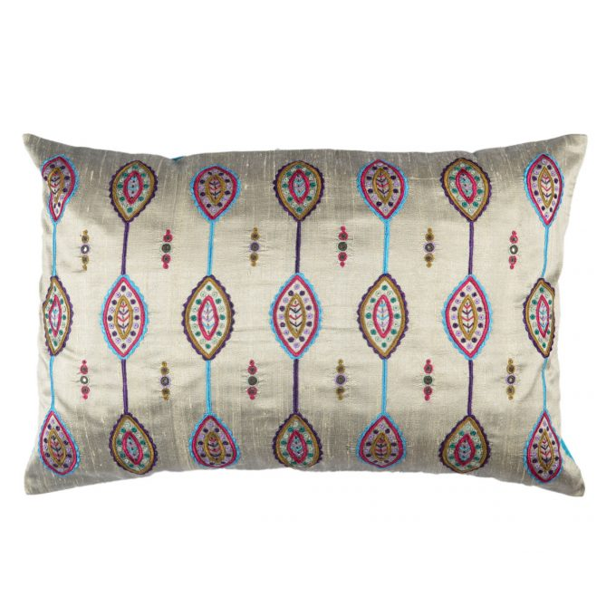 Tallentire House Cushion Silk Gypsy Shield Silver