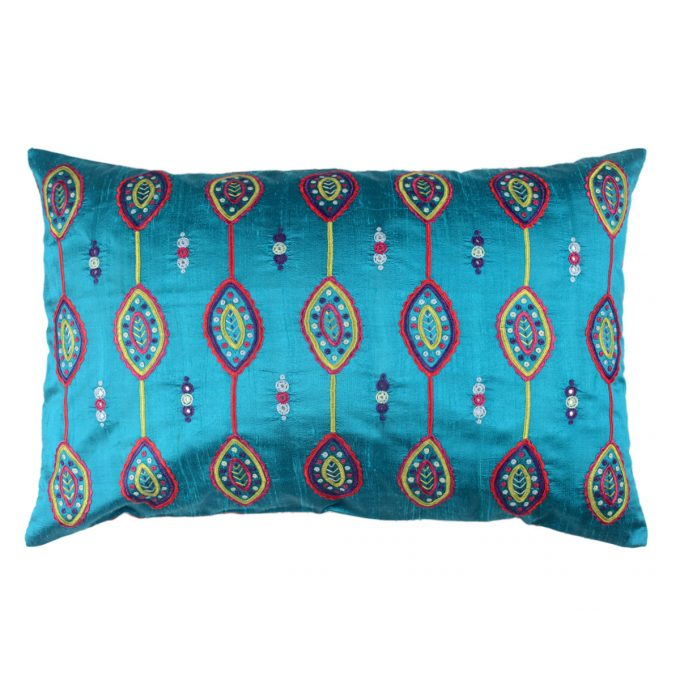 Tallentire House Cushion Silk Gypsy Shield Turquoise