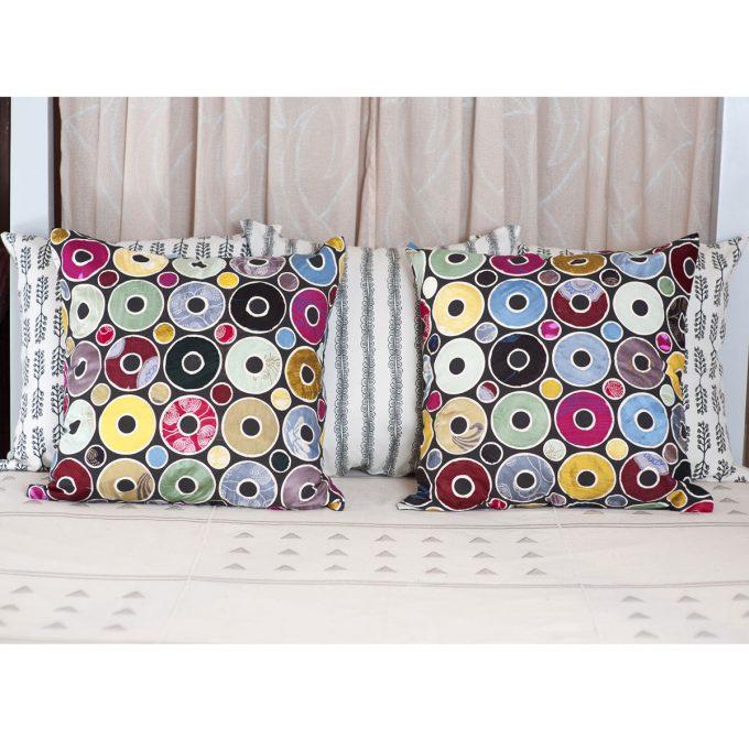 Tallentire House Cushion Silk Patchwork Applique Circle 60x60 2