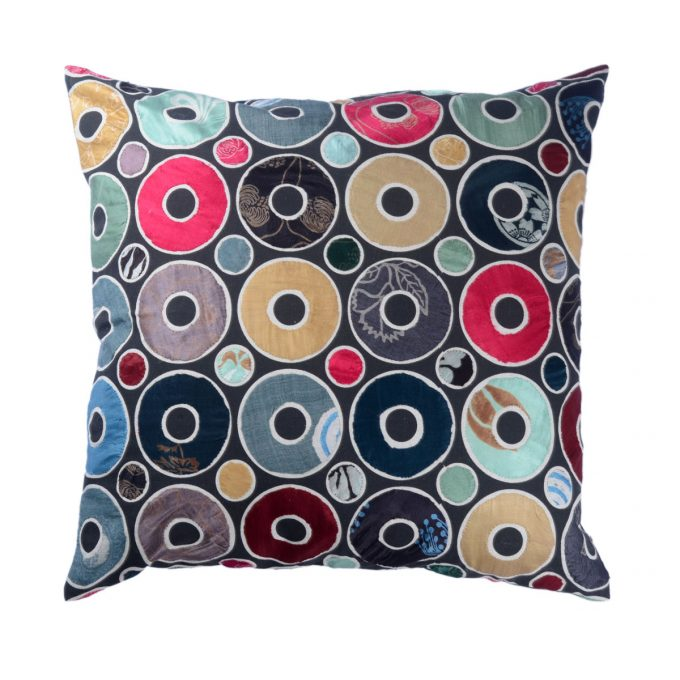 Tallentire House Cushion Silk Patchwork Applique Circle 60x60