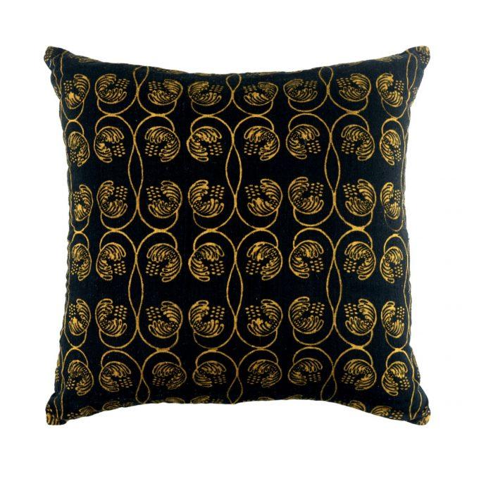 Tallentire House Cushion Silk Wisteria Printed Black 50x50