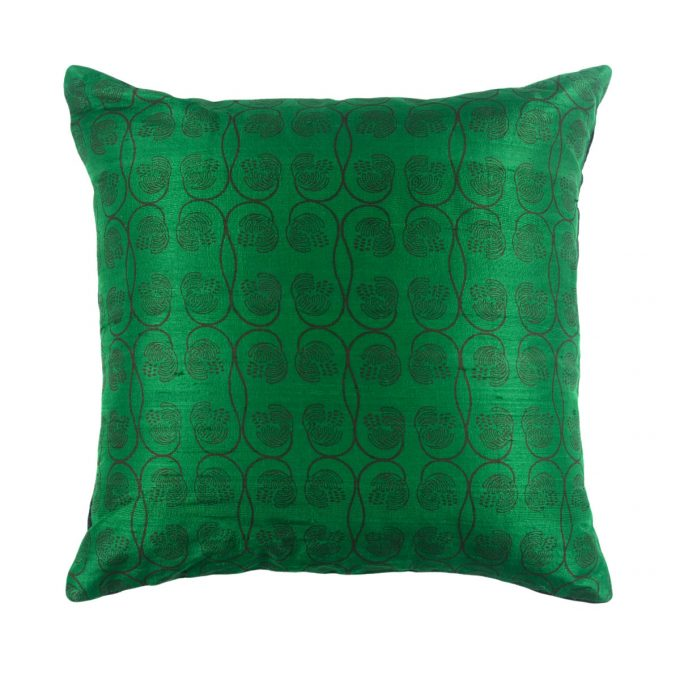 Tallentire House Cushion Silk Wisteria Printed Emerald 50x50