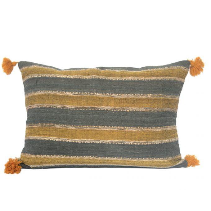 Tallentire House Cushion Silk Wool Striped Grey Yellow