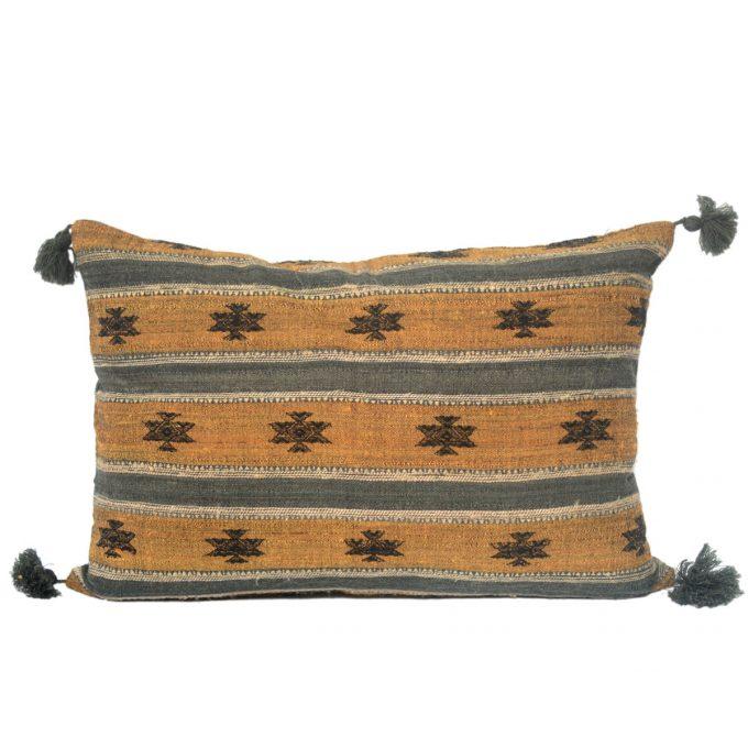 Tallentire House Cushion Silk Wool Striped Motif Yellow Grey