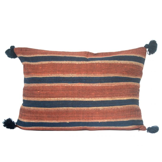 Tallentire House Cushion Silk Wool Striped Orange Blue 60x40