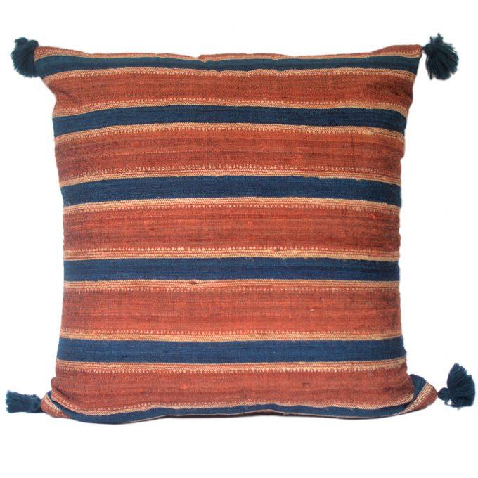 Tallentire House Cushion Silk Wool Striped Orange Blue 60x60