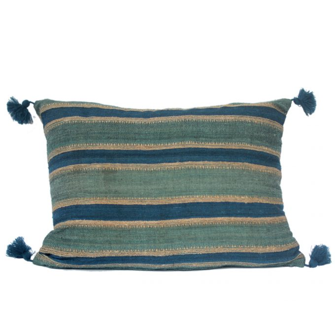 Tallentire House Cushion Silk Wool Striped Turquoise Blue 60x40