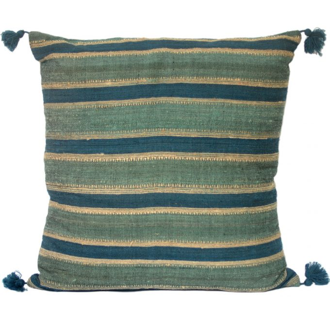Tallentire House Cushion Silk Wool Striped Turquoise Blue 60x60