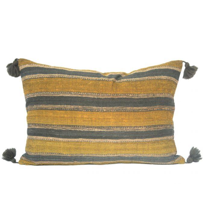 Tallentire House Cushion Silk Wool Striped Yellow Grey