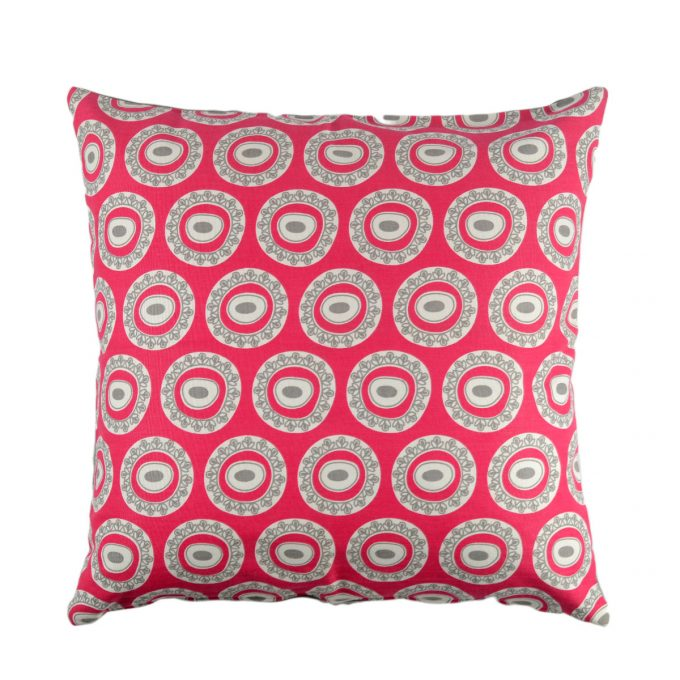Tallentire House Cushion Square Byzantine Circle Bright Rose Wild Dove