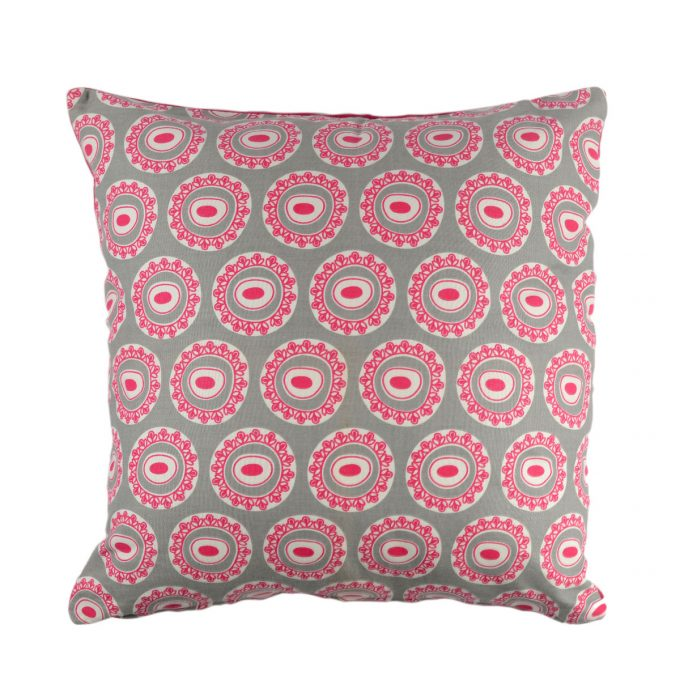 Tallentire House Cushion Square Byzantine Circle Wild Dove Bright Rose