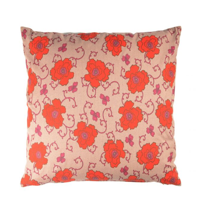Tallentire House Cushion Square Cotton Flax Russian Flower Rosewood Tiger Lilly