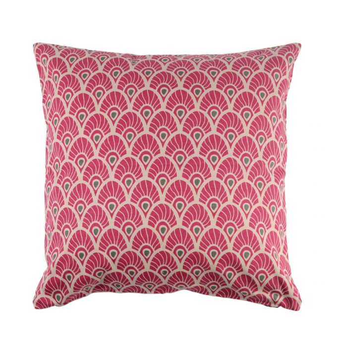 Tallentire House Cushion Square Feather Fuchsia Red
