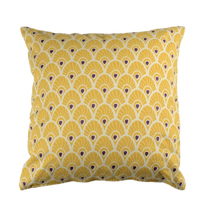 Tallentire House Cushion Square Feather Oil Yellow