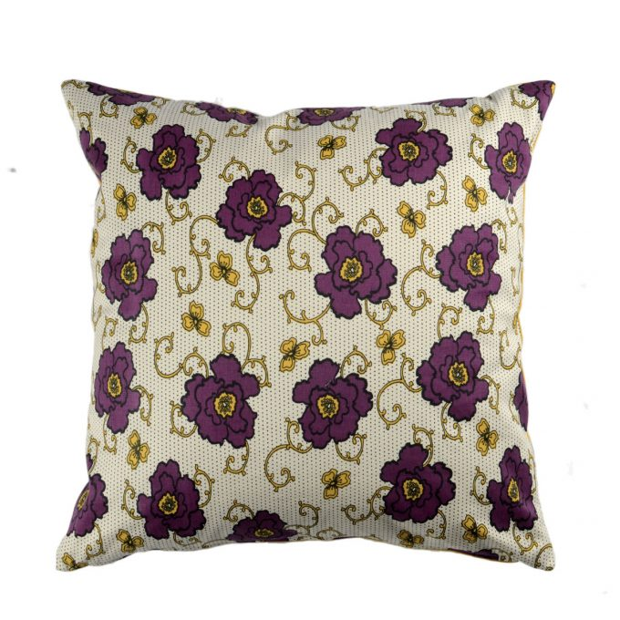 Tallentire House Cushion Square Russian Flower Grape Wine Oil Yellow