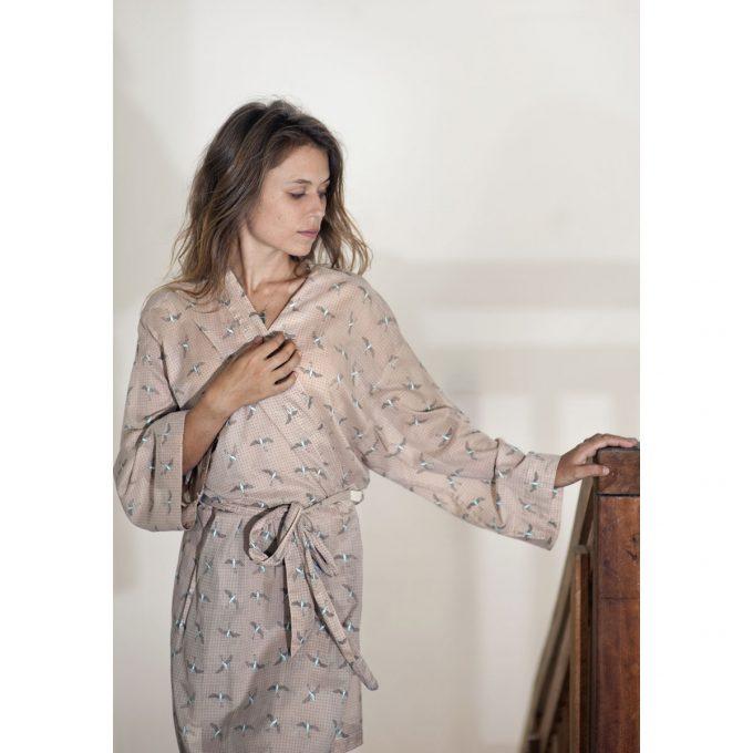 Tallentire House Dressing Gown Bird Dusty Pink Chalk Blue 2