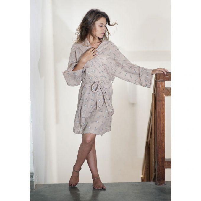 Tallentire House Dressing Gown Bird Dusty Pink Chalk Blue