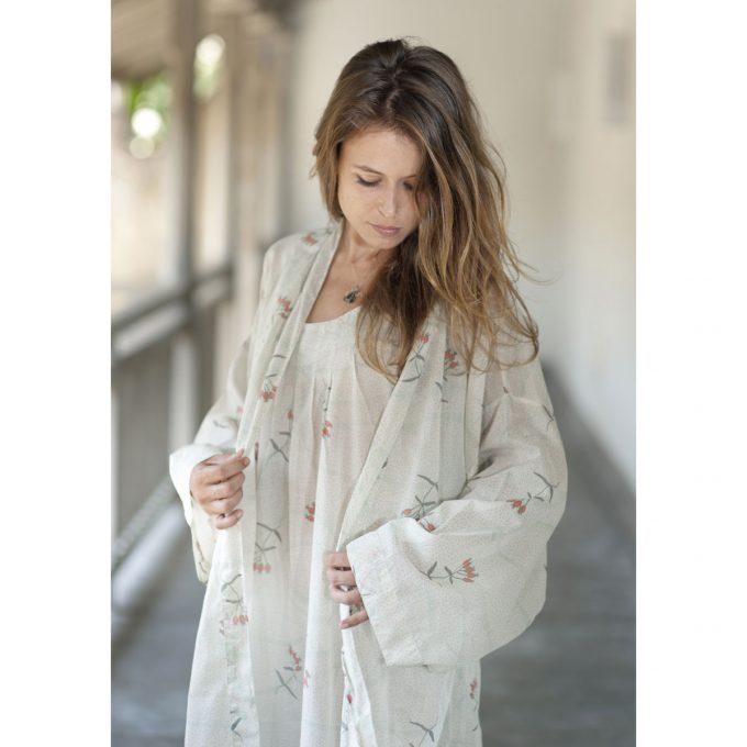 Tallentire House Dressing Gown Dotty Flower Moon Beam Coral