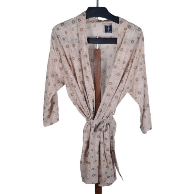 Tallentire House Dressing Gown Korean Flower Dusty Pink Shitake