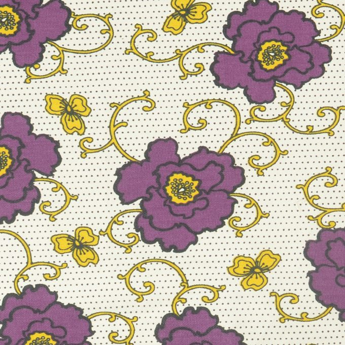 Tallentire House Fabrics Q1 Russian Flower Grape Wine Oil Yellow