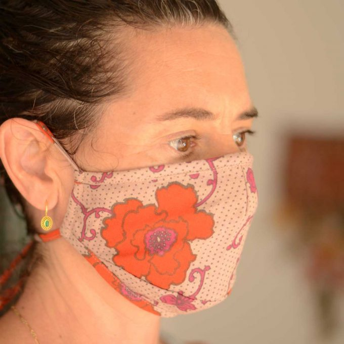 Tallentire House Face Mask Russian Flower Rosewood Tiger Lilly Side