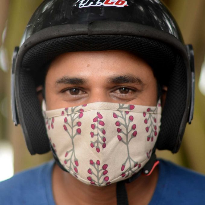Tallentire House Face Mask Stem Fuchsia Red Front Duminda with helmet