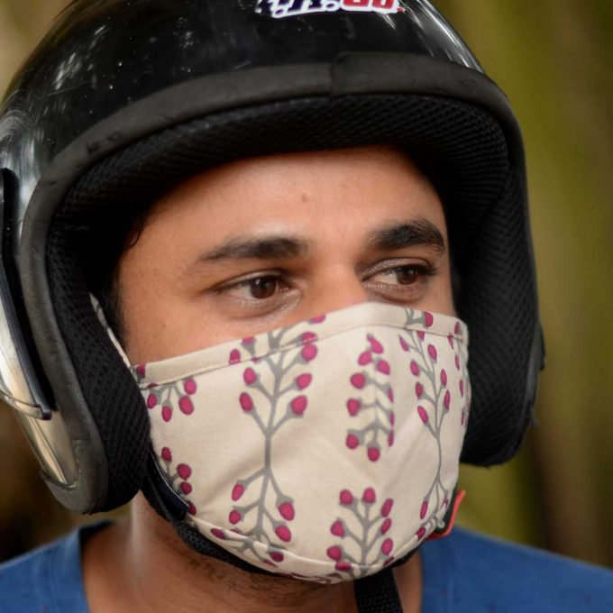 Tallentire House Face Mask Stem Fuchsia Red Side Duminda with helmet