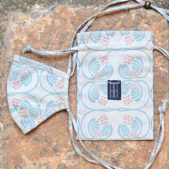 Tallentire House Face Mask Wisteria Blue Surf Slate Bag