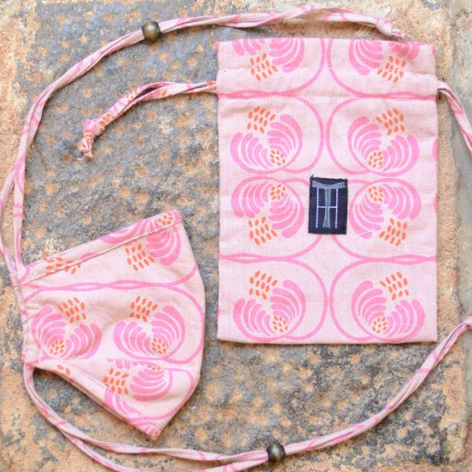 Tallentire House Face Mask Wisteria Rosewood Flamingo Bag