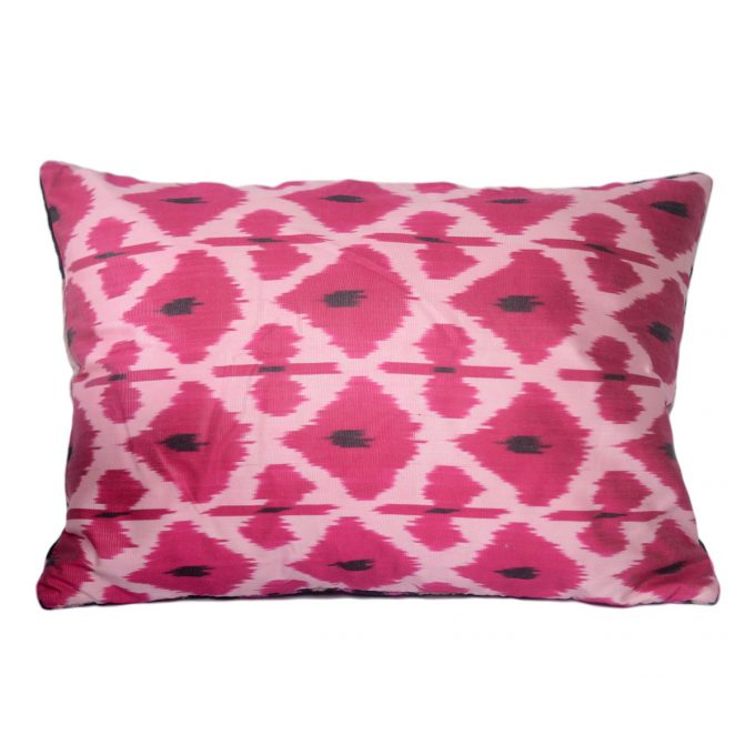 Tallentire House Ikat Velvet Cushion Byzantine Pink Black Ivory Back