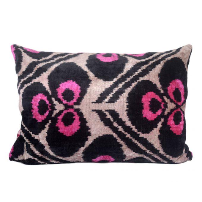 Tallentire House Ikat Velvet Cushion Byzantine Pink Black Ivory Front