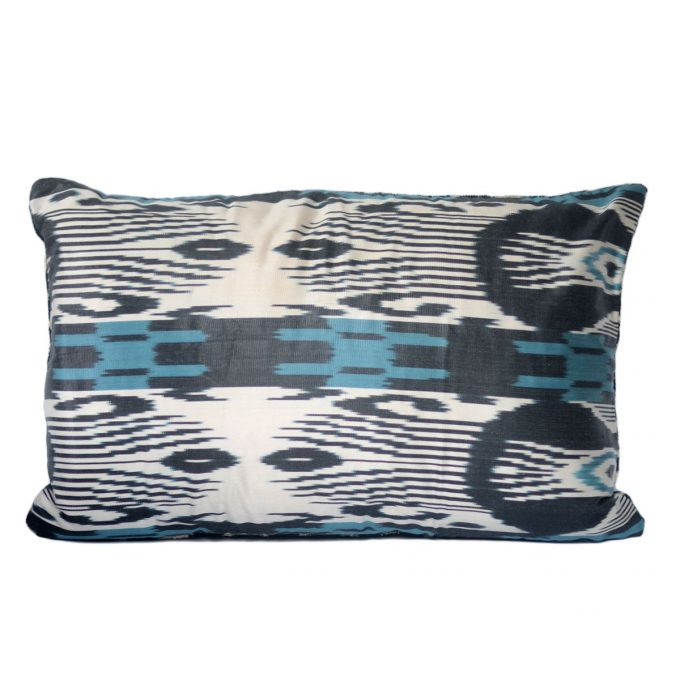 Tallentire House Ikat Velvet Cushion Cross Blue Black Ivory Back