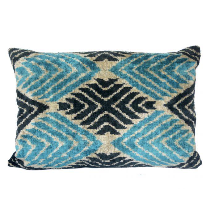 Tallentire House Ikat Velvet Cushion Cross Blue Black Ivory Front