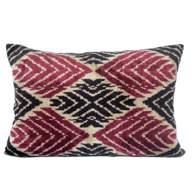 Tallentire House Ikat Velvet Cushion Cross Red Black Ivory Front
