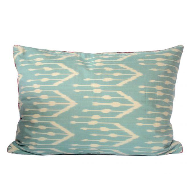 Tallentire House Ikat Velvet Cushion Flow Pink Aqua Ivory Back