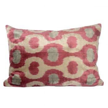 Tallentire House Ikat Velvet Cushion Flow Pink Aqua Ivory Front