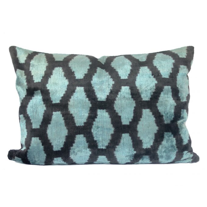 Tallentire House Ikat Velvet Cushion Honeycomb Blue Black Ivory Front