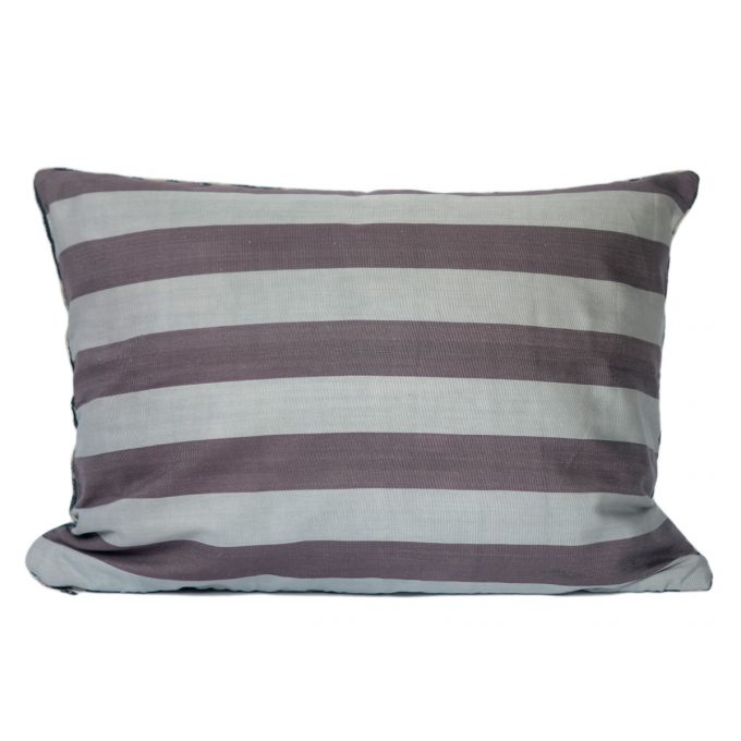 Tallentire House Ikat Velvet Cushion Mayan Black Pink Aqua Ivory Back