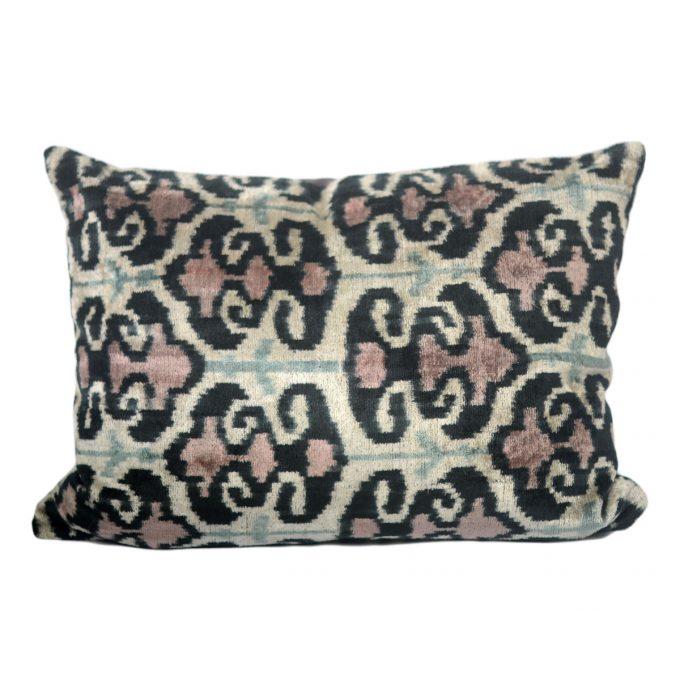 Tallentire House Ikat Velvet Cushion Mayan Black Pink Aqua Ivory Front