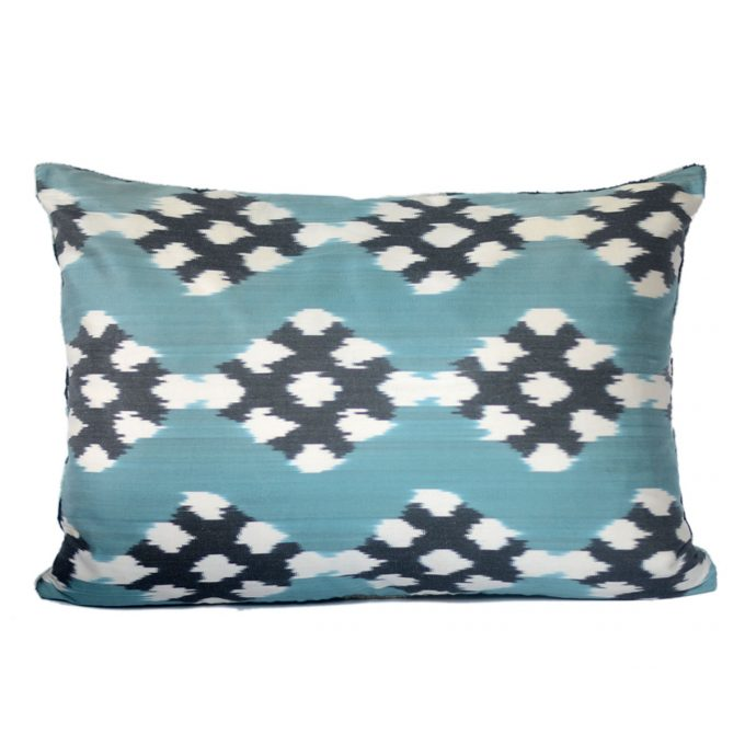 Tallentire House Ikat Velvet Cushion Spots Blue Black Ivory Back