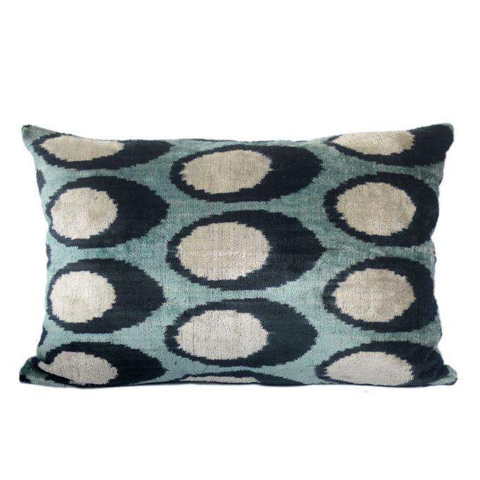 Tallentire House Ikat Velvet Cushion Spots Blue Black Ivory Front