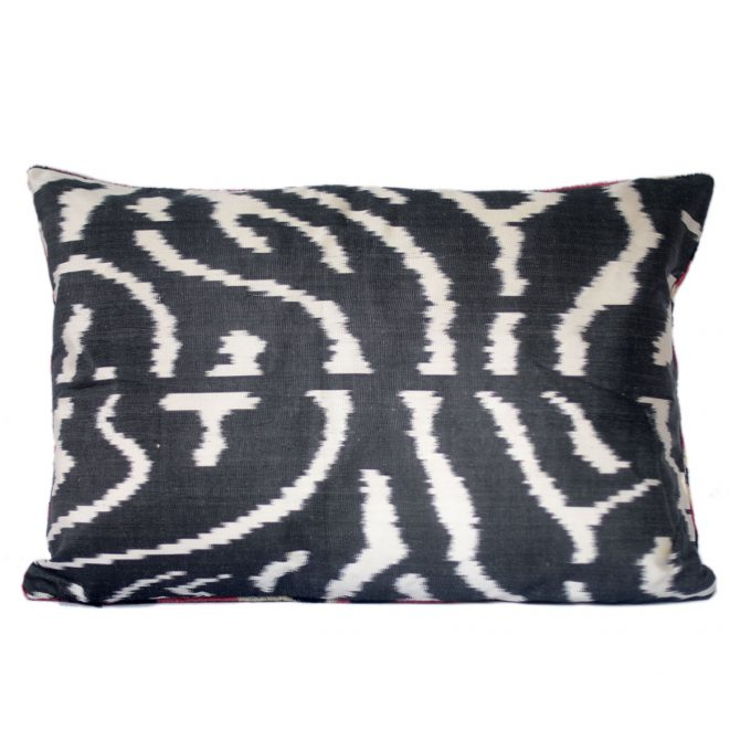 Tallentire House Ikat Velvet Cushion Spots Red Black Ivory Back