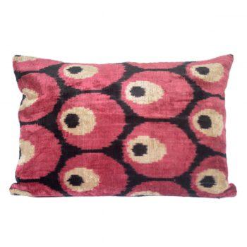 Tallentire House Ikat Velvet Cushion Spots Red Black Ivory Front