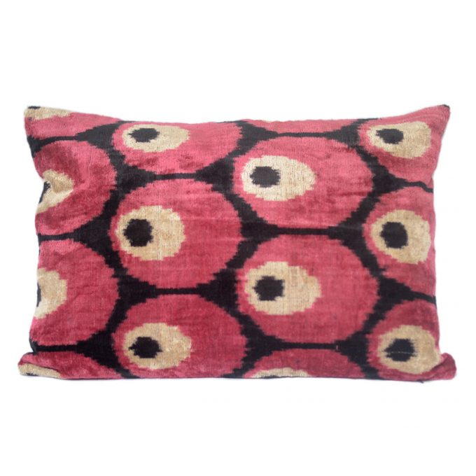 Tallentire House Ikat Velvet Cushion Spots Red Black Ivory Front