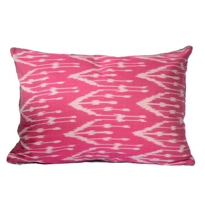 Tallentire House Ikat Velvet Cushion Squares Pink Grey Ivory Back
