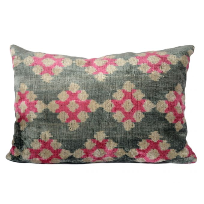 Tallentire House Ikat Velvet Cushion Squares Pink Grey Ivory Front