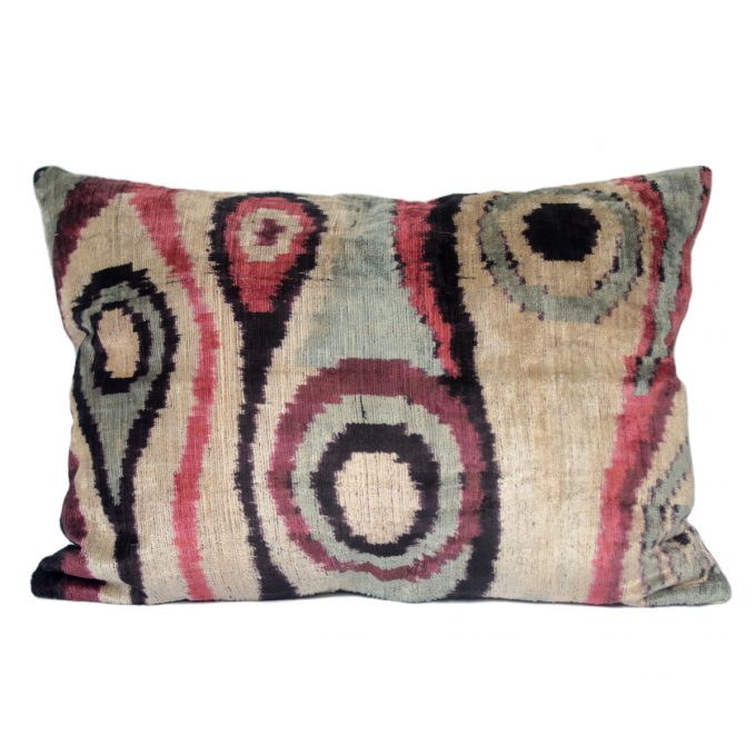 Tallentire House Ikat Velvet Cushion Surreal pink Black Ivory Aqua Front