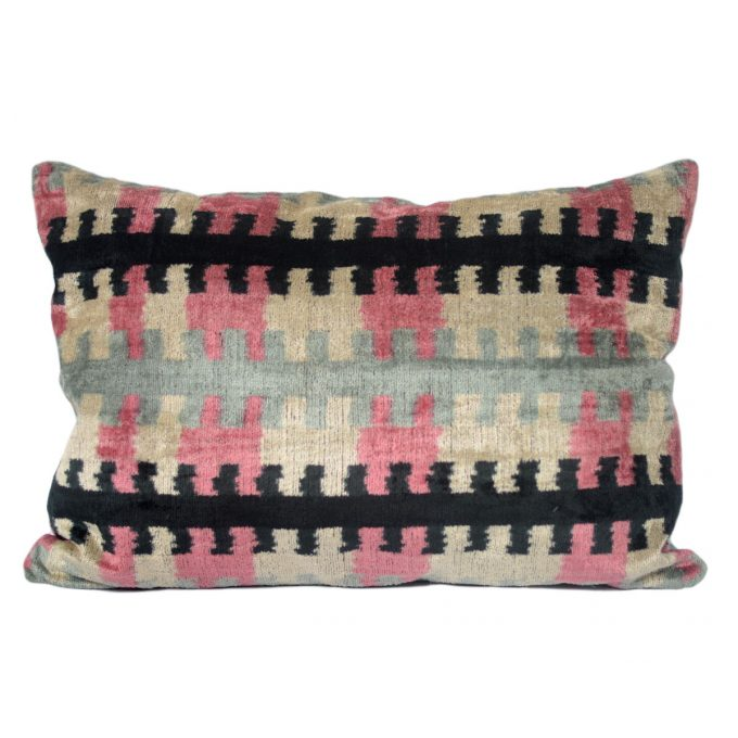 Tallentire House Ikat Velvet Cushion Zip Black Pink Aqua Ivory Front