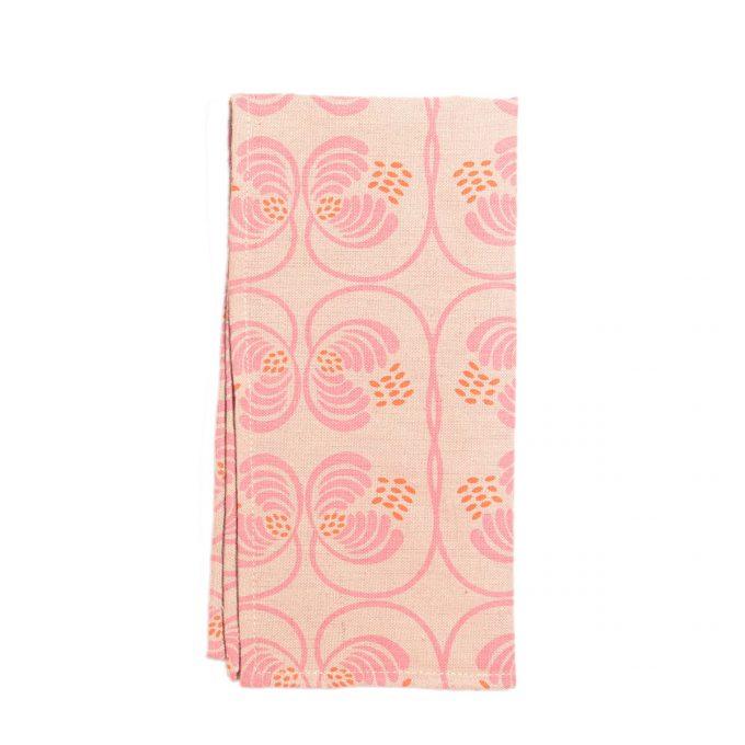 Tallentire House Napkin Cotton Flax Wisteria Rosewood Flamingo