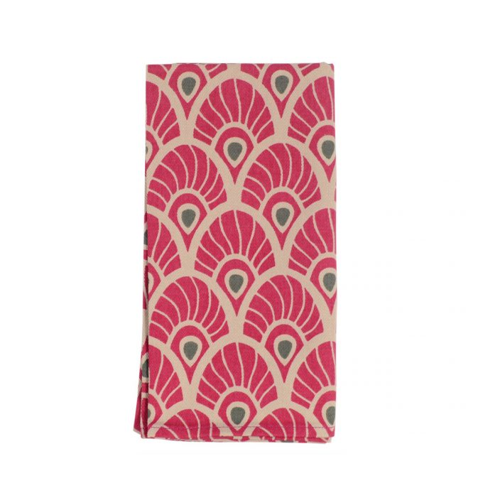 Tallentire House Napkin Feather Fuchsia Red